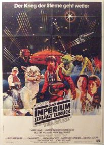 """German Empire Strikes Back Style """"A"""" Foreign '82 Re-release Black Logo One-Sheet / A1 size"""